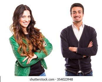 Studio picture of a man and woman, isolated over white