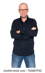 Studio picture from a smiling man in front of white background