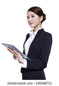 studio portrait of an asian business executive