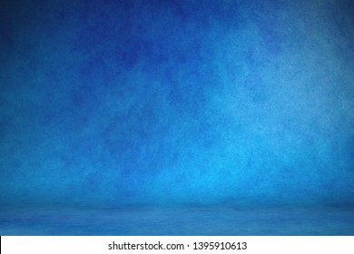 Studio portrait backdrops traditional painted canvas or muslin fabric cloth studio backdrop or background, suitable for use with portraits, products and concepts. Dramatic, blue modulations