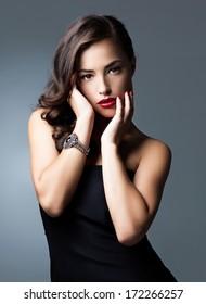 Studio portrait of a beautiful glamorous Caucasian woman.