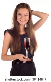 Studio portrait of a beautiful young lady with a glass of red wine