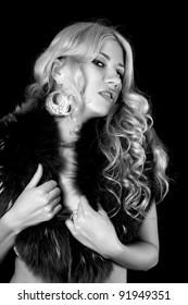 studio portrait of blonde woman