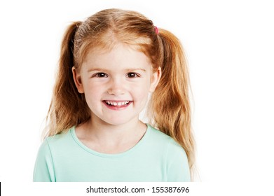 Studio portrait of cute three year old girl. Isolated on white background.