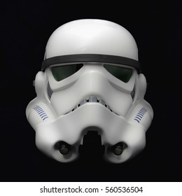 Studio portrait of an EFX brand Star Wars ANH Stormtrooper helmet. Star Wars The Force Awakens opens December 18th 2015 worldwide. The Star Wars franchise is owned by Disney