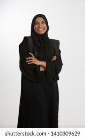 Studio portrait of Emirati woman