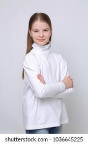 Studio portrait of european caucasian teen girl