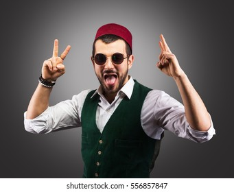 Studio portrait of a funny Turkish man