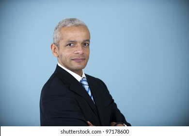 studio portrait of a mature african american businessman