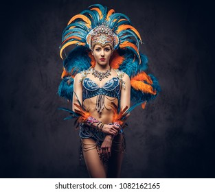 Studio portrait of a sexy female in a colorful sumptuous carnival feather suit. Isolated on a dark background.
