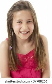 Studio Portrait of Smiling Girl