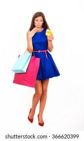 Studio portrait of an uneconomical girl with the empty purse