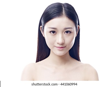 studio portrait of a young asian woman, frontal view, looking at camera, isolated on white.