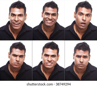 Studio portrait of young, handsome businessman showing different expressions ranging from happy, sad, angry, disgust and surprise