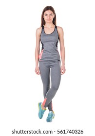 Studio portrait of a young woman in sportswear. Mock up. Human. Healthy lifestyle. Sports nutrition.