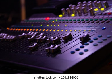 Studio radio mixing. Audio music mixer. Digital sound equipment. Professional equalizer for concert mix, volume control, electronic instrument. Broadcast switch. Record technology.