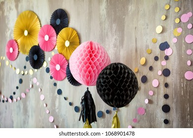 Studio scene for celebrating birthday of child one year old with fancy decor decorations on stylish wall