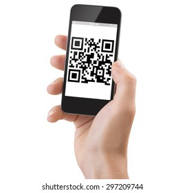 Studio Shoot of a adult man's hand holding a generic smartphone scanning a Qrcode.