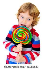 studio shoot of girl with huge lollipop