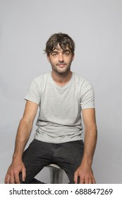Studio shoot of handsome guy on white background