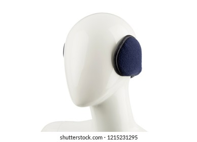 Studio shoot of purple fur ear muffs on a white mannequin isolated on white background.