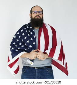 Studio shoot white background with american man