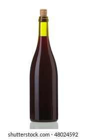 Studio shooting  bottle of red wine Isolated On White