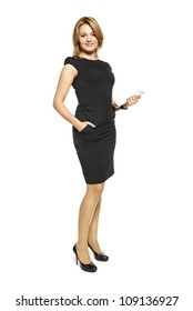 Studio shot of attractive  woman in a black dress. Portrait of businesswoman isolated on white background.
