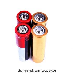 Studio shot of batteries on white background