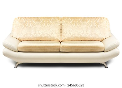 Studio shot of a beige modern sofa on white background