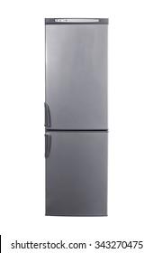 studio shot big stainless steel refrigerator with bottom freezer isolated on white
