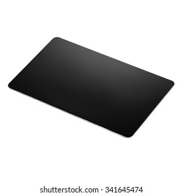 Studio shot of a black credit card or gift card isolated on white. Image taken from above, top view.