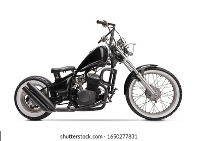 Studio shot of a black custom motorbike isolated on white background