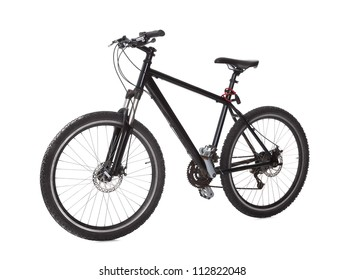 Studio shot of black mountain bike isolated on white