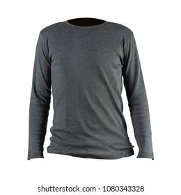 Studio shot of Blank gray long sleeves t-shirt on white background