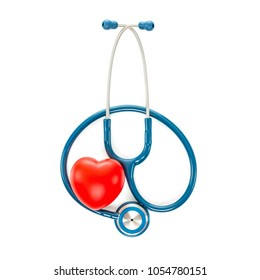 Studio shot of blue stethoscope and a toy heart on white background