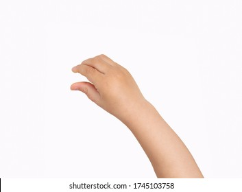 Studio shot of a boy hand hanging something blank isolated on a white background