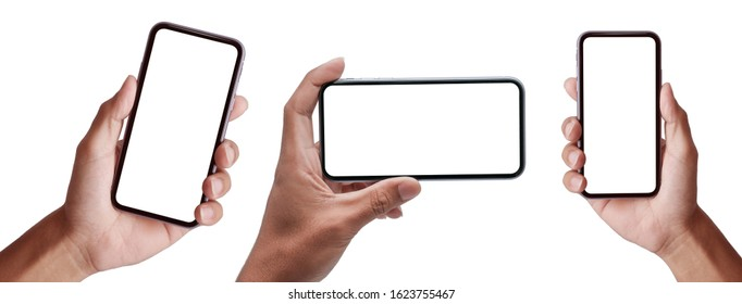 Studio shot of Business  Hand holding Smartphone iPhone set and isolated on white background for your mobile phone app or web site design, logo  Global Business technology -include clipping path.