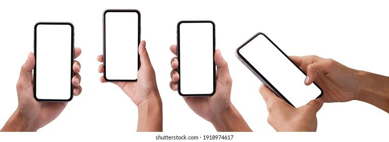 Studio shot of Business  Hand holding Smartphone iPhone set and isolated on white background for your mobile phone app or web site design, logo  Global Business technology -include clipping path