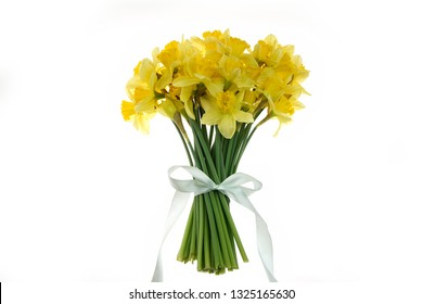 Studio shot of a cheerful bouquet of fresh, bright colored, spring flowers, yellow daffodils, tied together with mint ribbon, isolated on white background.