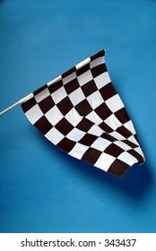 Studio shot of chequered flag