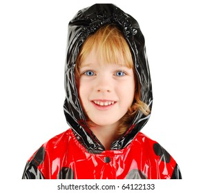 studio shot with child with red raincoat isolated on the white background.