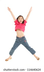 Studio Shot Of Chinese Girl Jumping In Air