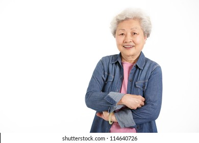 Studio Shot Of Chinese Senior Woman