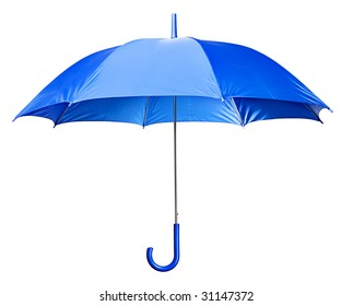 Studio Shot of Classic Blue Umbrella Isolated on White