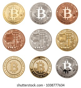 Studio shot of a collection of bitcoin physical golden, silver and copper  coin isolated over a white background. Bitcoin is a blockchain crypto currency
