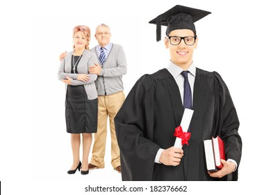 Studio shot of a college graduate and his proud parents isolated on white background
