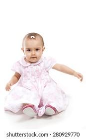 Studio shot of a cute girl baby