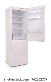 Studio shot of an empty refrigerator with opened door isolated on white background. Clipping path included.