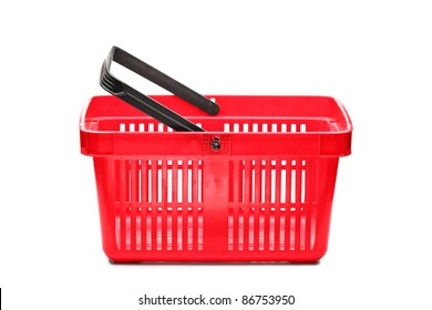 A studio shot of an empty shopping basket isolated on white background